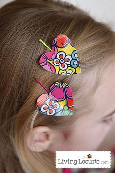 Duct Tape Heart Hair Clip Tutorial. Perfect party craft activity for girls! LivingLocurto.com