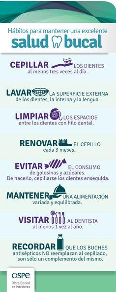Hábitos para mantener una excelente #SaludBucal #Prevencion #Infografia