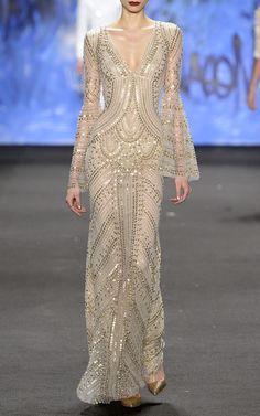 Metallic Beaded V-Front Gown by Naeem Khan for Preorder on Moda Operandi