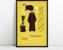 Hufflepuff - Minimalist Poster - Harry Potter Print -  Potterhead - Geek - Cedric Diggory - Hogwarts