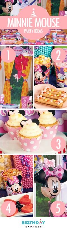 Check out the Top 5 Minnie Mouse Birthday Party Ideas on  BirthdayExpress.com: (1) Transform your house into a House of Mouse with Minnie Mouse party decorations (2) Colorful candies and bows dress up party food just like Minnie (3) Make Minnie Mouse cupcakes! Mini sandwich cookies, a sugar candy bow, and a polka dot cupcake wrapper keep it simple(4) Easy kids party food: Use cookie cutters to make cute fruit shapes (5) Jumbo Minnie Mouse balloons are the best party decorations ever!