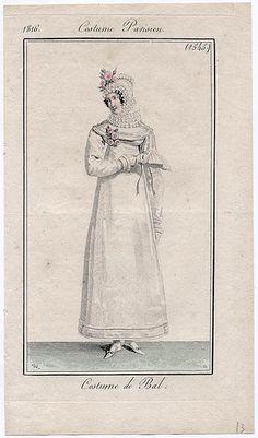 White ball gown 1816 Costume parisien