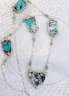 Broken China Jewelry, China Heart Pendant Necklace, Turquoise and Grey Floral China, Sterling Silver Chain