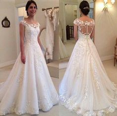 2016 Romantic Ivory Lace Appliques Little Cap Sleeves Wedding Dresses Vestidos De Novia Sexy Illuiosn Button Back A-line Long Bridal Gowns - wedding dress Ivory Lace Wedding Dress, Wedding Dress Train, 2016 Wedding Dresses, Applique Wedding Dress, Wedding Dress Shopping, Perfect Wedding Dress, Bridal Dresses, Wedding Gowns, Dresses 2016