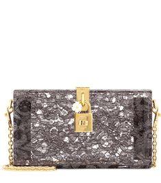 Graue Boxclutch Dolce aus Plexiglas mit Taormina-Spitze By Dolce & Gabbana