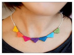 Tribal Triangle Necklace made of wool Multicolour by Naju on EtsyRainbow fire by PixieCold on deviantARTTriangle Necklace, looks easy enough to makeSimple but beautiful design! Collar Macrame, Macrame Colar, Macrame Necklace, Macrame Jewelry, Diy Necklace, Crochet Necklace, Textile Jewelry, Fabric Jewelry, Jewellery