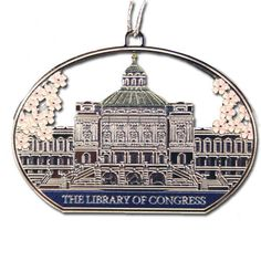 A true tribute to the Spring, this elegant ornament adorns the image of the Library of Congress, Thomas Jefferson Building in a beautiful silver, and surrounded