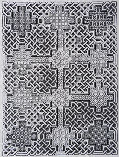 Blackwork pattern – Durrow Celtic Knots by The Hawthorn Tree; Celtic blackwork p… - Modern Motifs Blackwork, Blackwork Cross Stitch, Blackwork Embroidery, Embroidery Sampler, Embroidery Patterns Free, Cross Stitch Charts, Cross Stitch Designs, Cross Stitch Embroidery, Cross Stitch Patterns