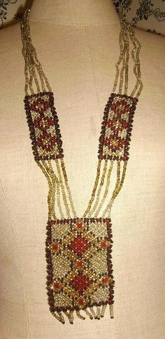 Woven Glass Seed Bead Flapper Era Native American Necklace from chelseaantiques on Ruby Lane