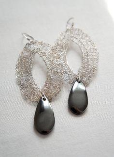 925 silver wire crochet earrings statement delicate by Zofija, $35.00