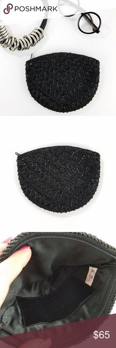 """Vintage La Regale Black Sequin Beaded Clutch ✴20% OFF BUNDLES OF 3 OR MORE✴ Top zipper closure Black satin lining with one interior small slip pocket  8""""W x 6.5""""T x .5""""Deep  Very good vintage condition - missing a few beads on one corner (see pic)  PLEASE READ CLOSET INFO AND POLICIES POST La Regale Bags Clutches & Wristlets"""