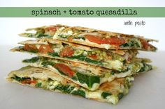 The Garden Grazer: Spinach + Tomato Quesadilla with Pesto - THIS (Pinterest) is a much better way to save recipes (sharing them on FB still means I have to go back and scroll and scroll to find those recipes).  This looks so yummy!