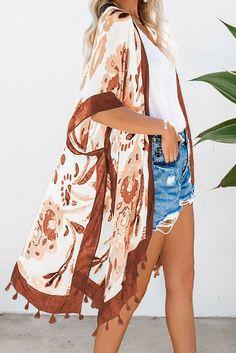 Orange Bohemian Print Open Front Loose Kimono Beach Cover Up Bohemian Print, Bohemian Style, Kimono Beach Cover Up, Summer Prints, Shopping World, Swimsuit Cover, Women's Summer Fashion, Fashion Prints, Bikini Set