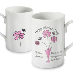 Personalised Flowers in Vase Message Mug  Valentines Day gift ideas