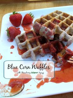 Blue Corn Waffles with Strawberry Jalapeño Syrup - inspired by Whoo's Blue Corn donuts in Santa Fe. These waffles are easy and so yummy!