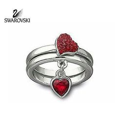 Swarovski Red Crystal Heart Rings EROS Set of 2 XLarge/60/9 #992706