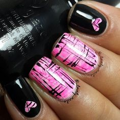 Beautiful Pink and Black Nail Designs - 22 Easy Cute Valentines Day Nail Art Designs, Ideas, Trends Stickers 2015 Get Nails, Fancy Nails, Pink Nails, Pretty Nails, Black Nails, Black Nail Designs, Cool Nail Designs, Pedicure Designs, Skull Nail Designs