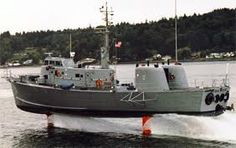 High Point PCH-1 Submarine Chaser (military hydrofoil). High Point was briefly transferred to the Coast Guard for evaluation in 1975 but never saw any actual operations. She blew a turbine and was transferred back to the Navy.