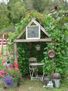My Bean House.  We built a primitive frame, covered with chicken wire and let Scarlet Runner Beans take over!  Scarlet Runners are a delicious french green bean, whose vines grow up to 20 feet long!  They also boast a beautiful scarlet bloom that attracts hummingbirds.  My favorite place in the garden!