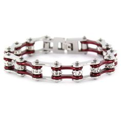"""1/2"""" Wide Two Tone Silver & Candy Red with crystal centers motorcycle chain. Buy Silver & Candy Red Bike Chain Bracelet with Crystals online for the best price of $29.95."""