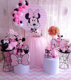 Baby Girl Birthday Theme, Minnie Mouse Birthday Decorations, Minnie Mouse Theme Party, Minnie Mouse First Birthday, Mickey Mouse Baby Shower, Mickey Birthday, 2nd Birthday, Disney Parties, Mouse Parties