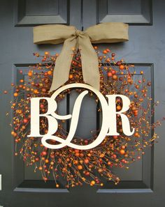 Items similar to Three Letter Monogram Wreath- Monogram Berry Wreath with Burlap Ribbon- Fall Wedding Decor- inch Sizes Available Door Wreath on Etsy Letter Monogram, Monogram Wreath, Diy Wreath, Wedding Wreaths, Fall Wedding Decorations, Fall Crafts, Christmas Crafts, Monogram Painting, Holiday Fun