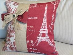 Eiffel Tower Pillow Cover, French Country Pillow, Red Paris Fabric Decorative Throw Pillow, Burlap, White & Red Toile, Shabby Chic, 16 in. $38.00, via Etsy.