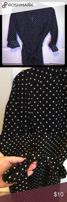 Black and White Polka Dot Blouse! This blouse is made by Notations and is black and white polka dots! So fun and professional to wear to work (I wore this my first day with Macy's)! Made of polyester and spandex and does provide stretch. It also NEVER wrinkles! Blouse has matching sash you can tie a bow around your waist. Notations Tops Blouses
