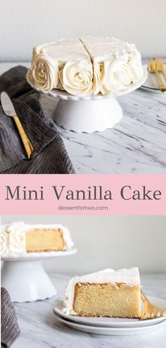 desert life Mini vanilla cake is a small cake recipe that serves two in a 6 inch cake pan. The best cake recipe full of vanilla makes 4 slices. Easy from scratch. Vanilla buttercream frosting roses on the sides. Vanilla Cake From Scratch, Easy Vanilla Cake Recipe, Cake Recipes From Scratch, Best Cake Recipes, Dessert Recipes, Vanilla Cookies, Crockpot Recipes, Chicken Recipes, Dinner Recipes