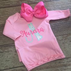 Baby girl coming home outfit, This sweet set includes personalized gown with appliqué initial and name!  Makes a perfect coming home outfit.