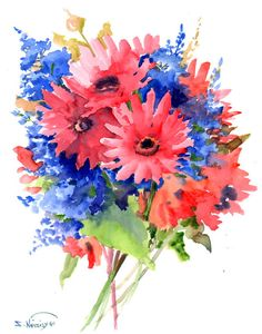 Pink and Blue flowers bouquet, Original watercolor painting, 14 X 11 in,