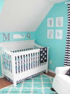 Aqua and Navy Nautical Nursery - what a bright and happy space!
