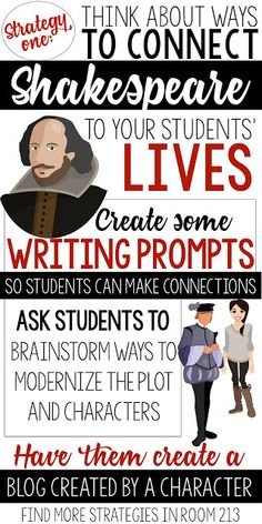I loved this idea for teachers to bear in mind, keeping the students in mind and creative ways to modernize the characters. I think giving the students that creative license to the characters. I will definitely use this in my classroom too! Drama Education, Education English, Teaching English, English Classroom, English Teachers, High School English, 10th Grade English, British Literature, School Resources