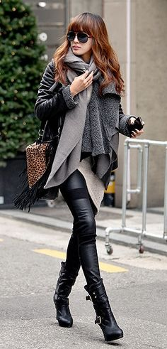 leather pants scarf with leather jacket and long boots