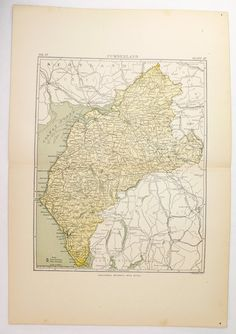 County Cumberland England Map 1894 Antique Map England County, Cumbria, Yellow Map Art, Vintage English Decor Gift for Friend, Vacation Gift available from OldMapsandPrints.Etsy.com #CountyCumberlandEngland #VintageMap