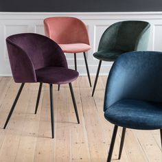New elegant velour chairs with graceful, black legs. Available in four colours, seat height: 49,5 cm, price per item DKK 448 / EUR 61,88 / ISK 11260 / NOK 628 / GBP 59,90 / SEK 618 / JPY 6888