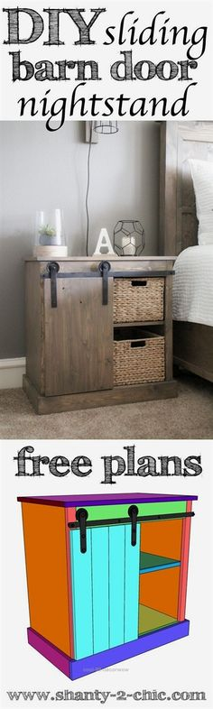 DIY Sliding Barn Door Nightstand plans and howto video Learn how to build this nightstand and the 20 DIY barn door hardware Easy to customize and perfect for so many plac. Woodworking Projects Diy, Diy Wood Projects, Home Projects, Woodworking Plans, Woodworking Furniture, Woodworking Beginner, Woodworking Store, Woodworking Machinery, Woodworking Workshop