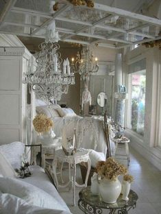 Shabby Chic Decor ● Sun-room « My Website Shabby Chic Mode, Estilo Shabby Chic, Shabby Chic Bedrooms, Shabby Chic Cottage, Shabby Chic Style, Shabby Chic Decor, Cottage Style, Romantic Bedrooms, Shabby Vintage