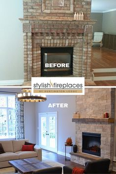#Fireplace makeover by Stylish Fireplaces. Brick replaced with Erthcoverings stone; gas insert replaced with electric.