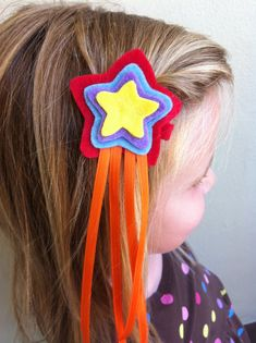 Star felt hair clip with ribbon in assorted by MamaMikelsHairFun, $5.00