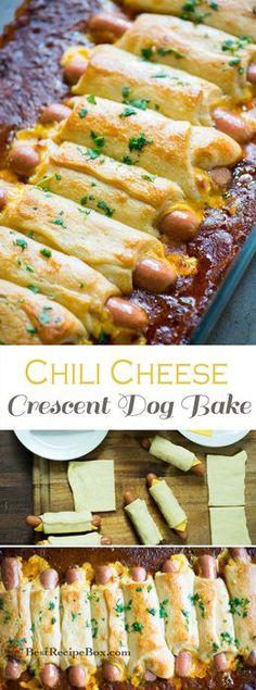 Chili Cheese Crescent Dog Bake for Game Day or Every Day!   @bestrecipebox #HotDog