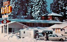 airstream postcards | Aspen Motel in Cloudcroft, New Mexico 1960s Airstream Travel Trailer