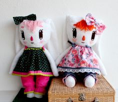 Katie Rose & Katie Ginger plushes // by Je Suis Mimi    https://www.etsy.com/listing/171727542/katie-handmade-bunny-plush & https://www.etsy.com/listing/171729056/katie-handmade-bunny-plush #handmade #etsy  #plush #doll #bunny #rabbit #cute #pink