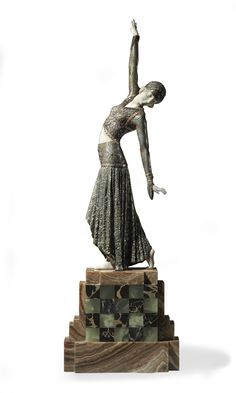 DEMETRE H. CHIPARUS (1886-1947) | 'FOOTSTEPS' A PATINATED BRONZE AND IVORY FIGURE, CIRCA 1928