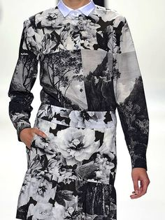 Modern floral and landscape print dress; photographic nature printed fashion // Dries van Noten