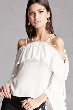 A woven top featuring a strappy neckline with self-ties at the sides, 3/4 layered bell sleeves, a flounce layer, and a flowy silhouette. This is an independent brand and not a Forever 21 branded item.