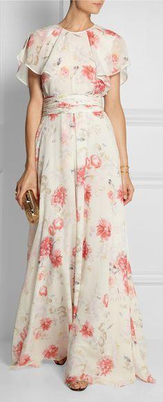 Floral silk georgette gown / Giambattista Valli