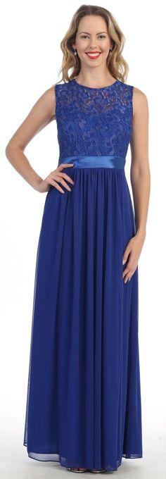 Long Sleeveless Royal Blue Semi Formal Dress Lace Top Chiffon Skirt