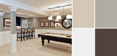 7 Basement color scheme ideas...going to use Benjamin Moore Revere Pewter for walls in basement with white trim