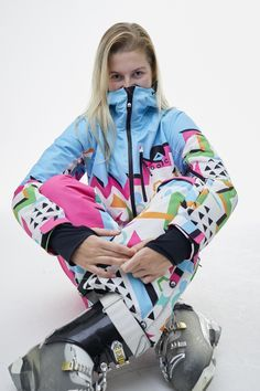 It's our Nuts Cracker womens ski suit! Snazzy blue, pink, white and yellow, we think this suit should be made into an emoji. Ski Onesie, Skinny Fit Suits, Ski Fashion, Snow Skiing, Snow Suit, One Piece For Women, Suits For Women, Old School, Destinations
